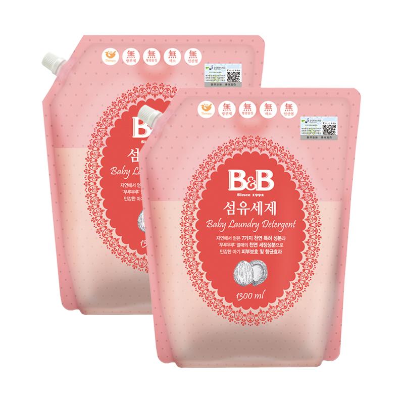 【 рысь супермаркеты 】 импорт из южной кореи B & B / страхование довольно ребенок прачечная жидкость 1300ml*2 мешок волокно мыть мыть