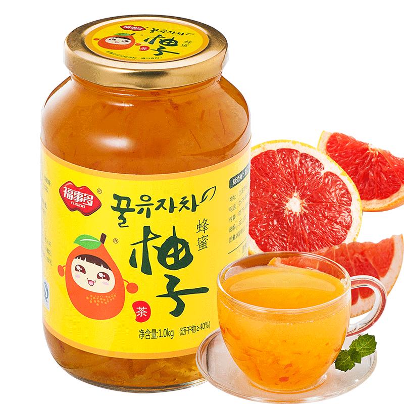 福事多蜂蜜柚子茶1kg大瓶裝 韓國風味衝飲果汁茶飲品