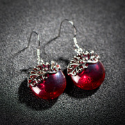 925 Silver and Ruby Thai Korean version of the simple fashion lover earrings earrings jewelry