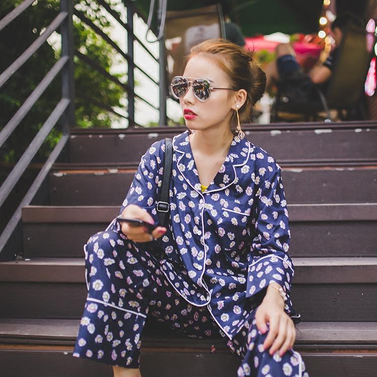 【媛只淡说定制】时尚外穿睡衣风宽松小碎花翻领衬衫单排扣套装2