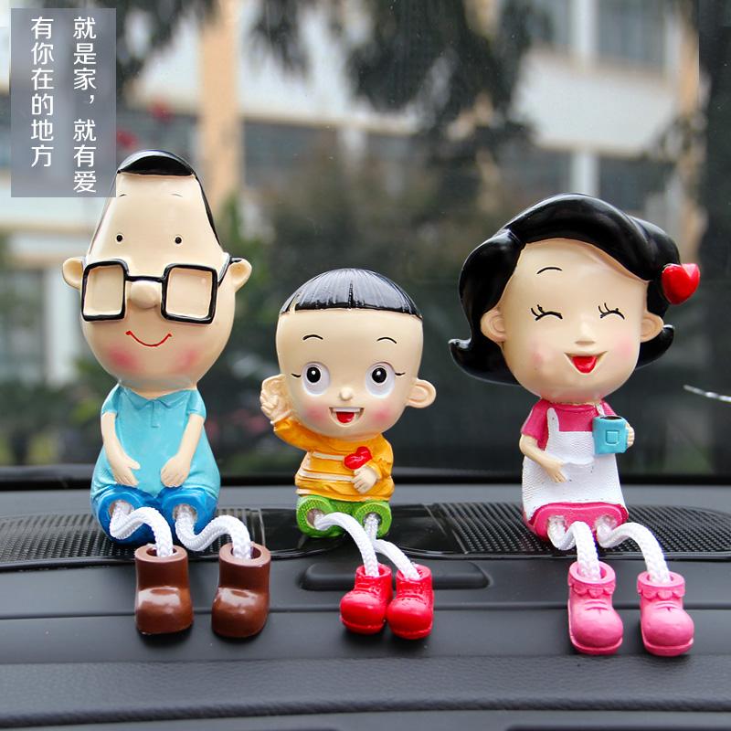 卡通汽車擺件大頭兒子樹脂吊腳擺飾小玩偶車內裝飾用品內飾品