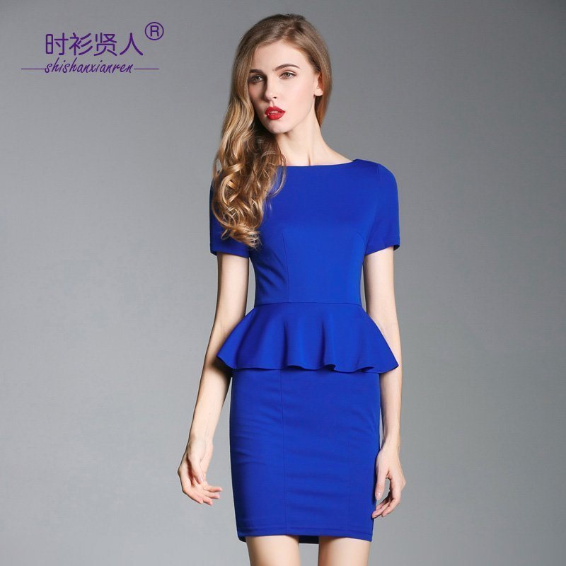 Fashion sage 2019 summer dress with ruffle and buttocks, professional dress, ladies dress, fashion and slim temperament