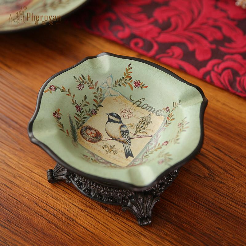 美式鄉村花鳥彩繪煙灰缸擺件 德琳絲 家居客廳陶瓷裝飾品擺設