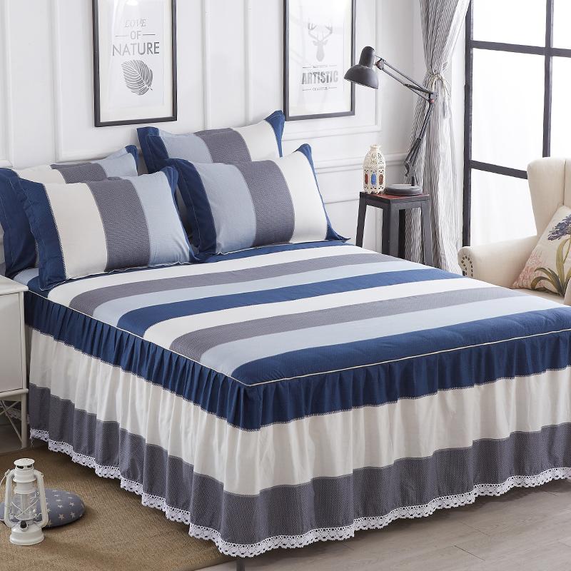 纯棉床裙式床罩单件三件套全棉防滑床套花边床单100%床群围裙款