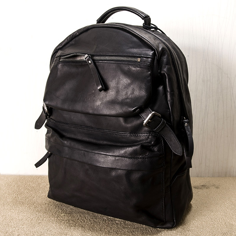 2018 new high capacity head Leather Backpack Travel large leather mens bag retro computer student bag