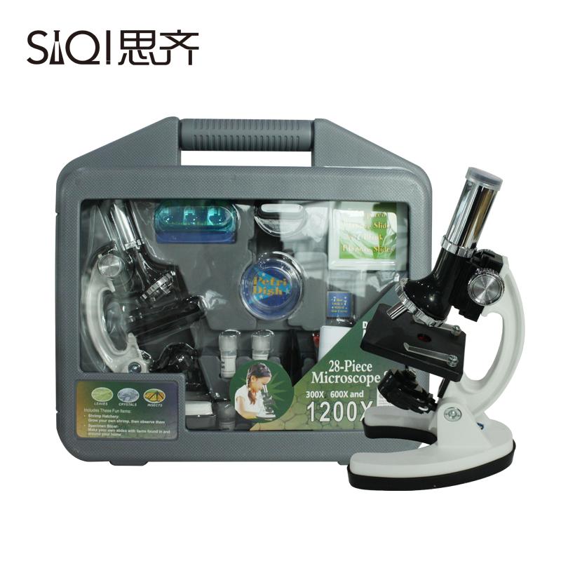 儿童显微镜 1200倍 金属显微镜 豪华礼盒套装生物显微镜科学实验套装迷你便携光学检测