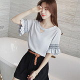 Summer Korean version of sweet lace, short sleeved Chiffon sweater, loose hollowed out Chiffon t-shirt