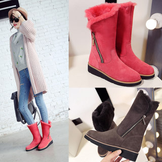 Sheepskin wool one female snow boots high boots are warm and thick cotton-padded shoes winter boots casual boots with flat winter boots