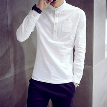 Hot young autumn tide of the new round collar shirt male han edition contracted linen thin male model of pure color long sleeve shirt