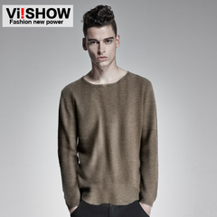 Viishow men's 2015 spring leisure t Brown men's slim new knit Turtleneck Sweater