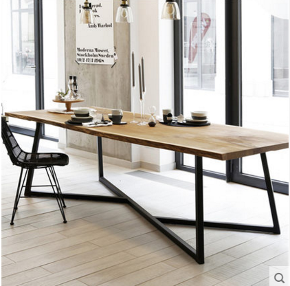 loft美式複古實木會議桌餐桌鐵藝簡約電腦桌書桌辦公桌長桌寫字台