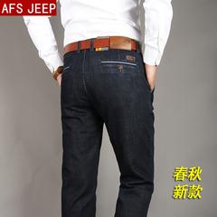 AFS JEEP中年牛仔裤男高腰弹力春秋薄款商务休闲男裤直筒宽松黑色