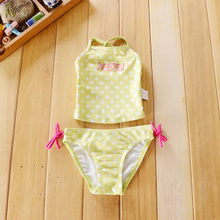 The new foreign trade brand 2015 yellow body tight and comely one-piece bathing suit island swimming suits of the girls