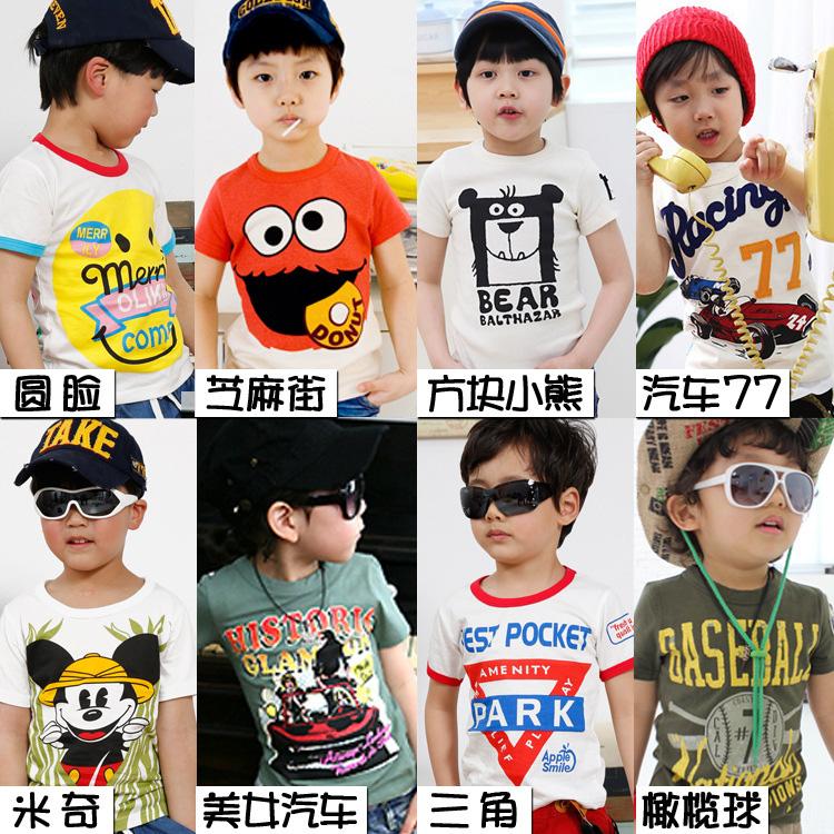 Корейский мальчики тонкие мультфильм хлопка экипажа шеи коротким рукавом Футболка летняя футболка короткими рукавами хлопок 3 Pack-mail