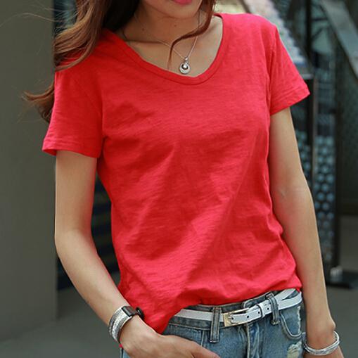 夏装新款韩版大红色白色宽松休闲 竹节棉V领短袖T恤女装体恤上衣