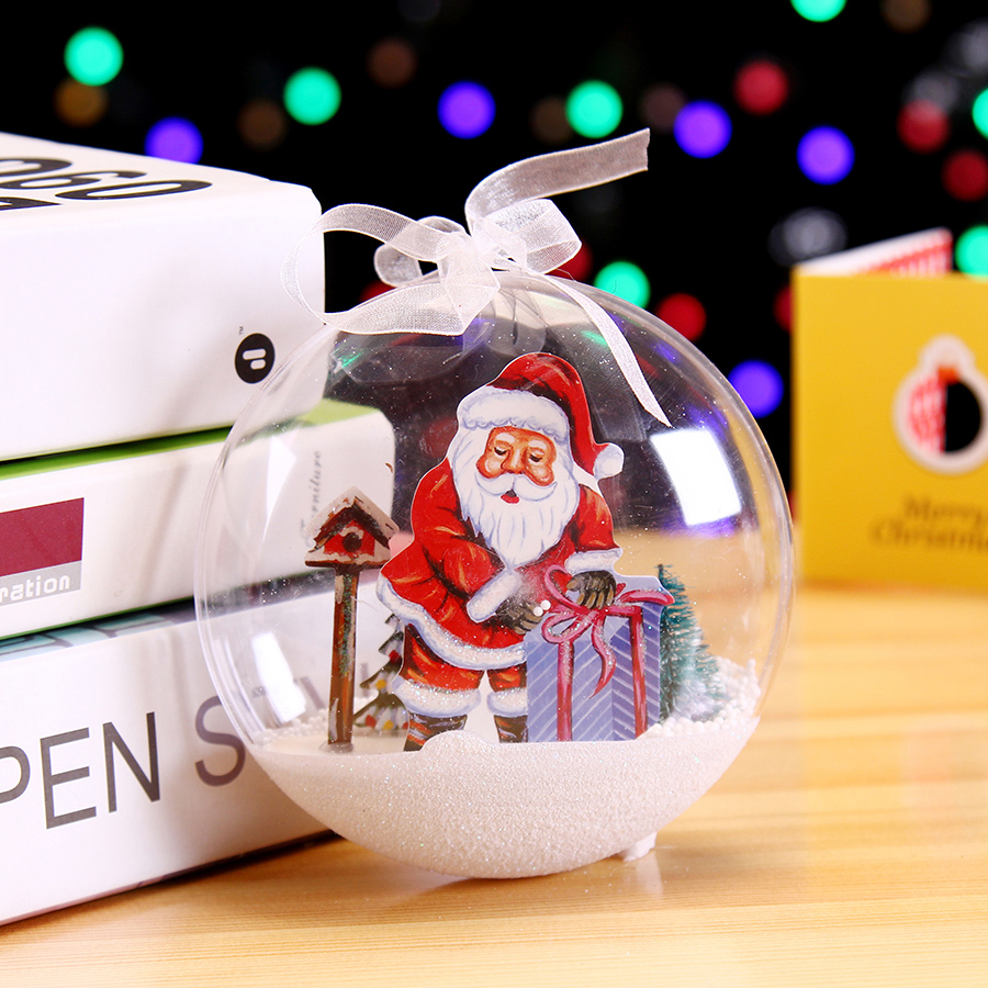 叕港恒圣诞节装饰品透明圣诞球雪景透明彩球雪花圣诞雪景挂球挂饰
