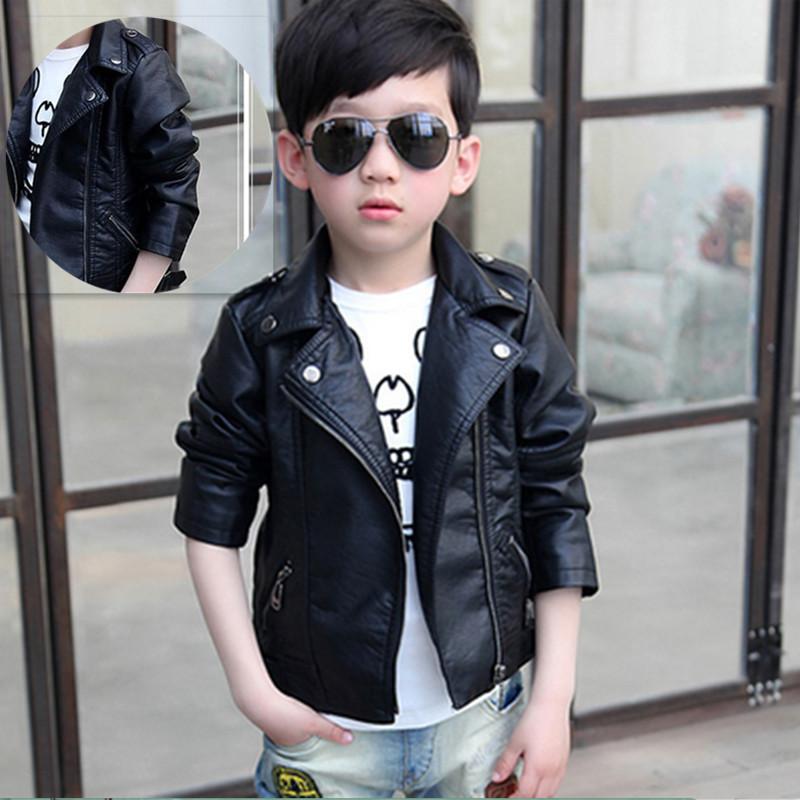 2020春季新款童装韩版皮衣男女儿童冬季加绒PU皮上衣翻领外套夹克
