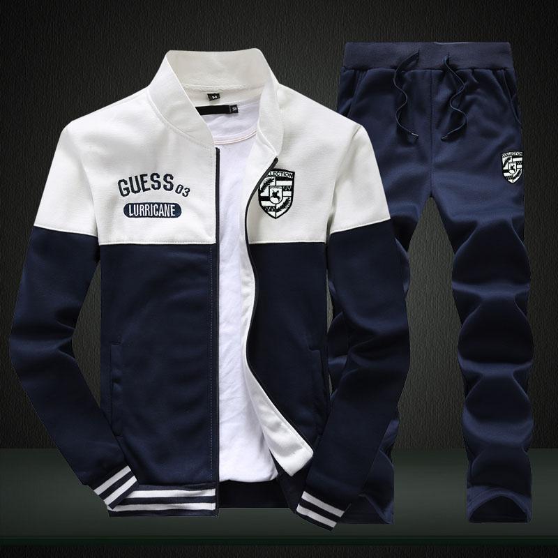 男士卫衣套装秋装新款休闲运动加绒外套棒球服衣服学生秋季男装潮