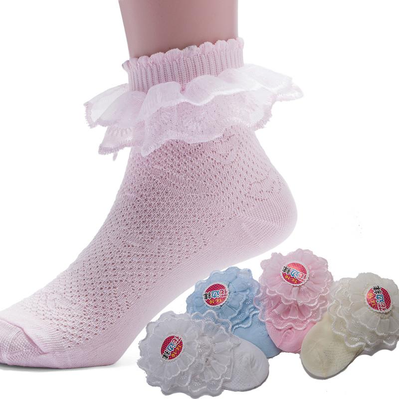 Летние дети кружева носки принцесса носки носки тонкие носки детские белые девушки в чулках льда летом