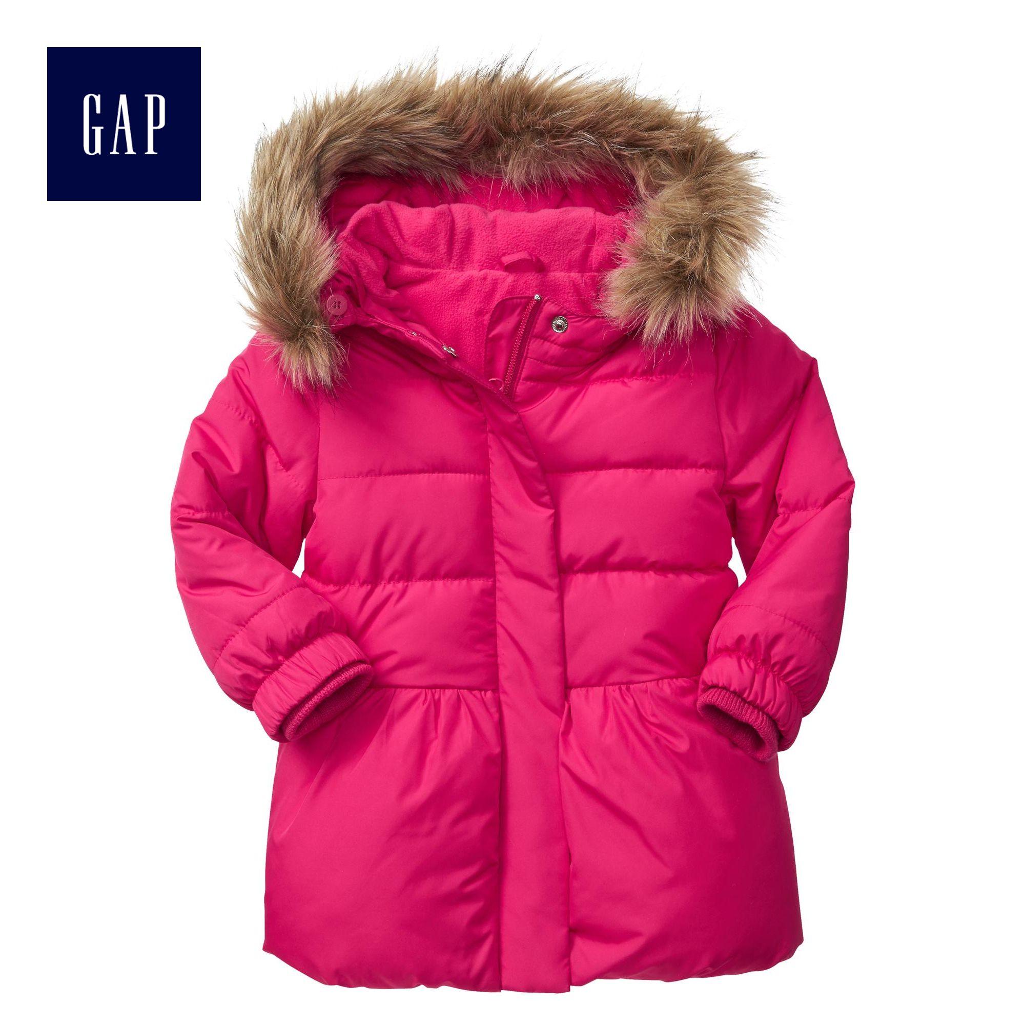 Gap女幼童 仿毛帽邊棉服夾克 簡潔百搭款小童保暖外套 314409 M2