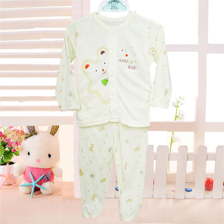 哈咪奇夏款超薄竹纤维婴儿内衣套装对开胸宝宝睡衣睡裤空调服