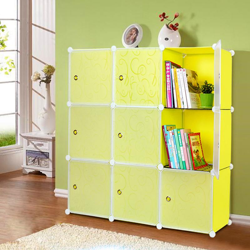 簡易兒童書櫃自由 櫃帶門組裝置物櫃寶寶嬰兒收納櫃儲物櫃書架