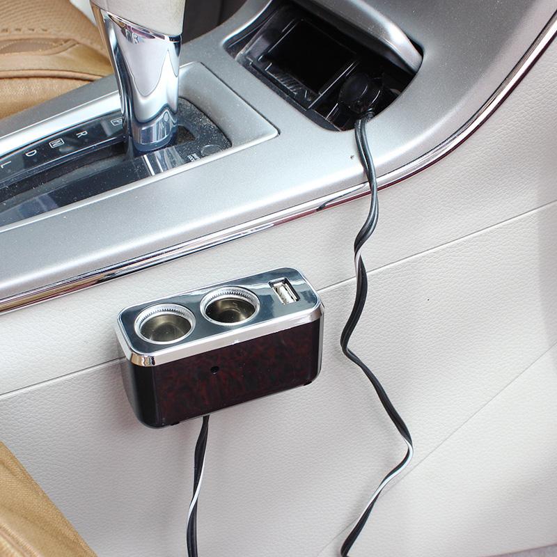 舜威 汽车点烟器一拖二带USB 延长线点烟器转换插座车载手机充电