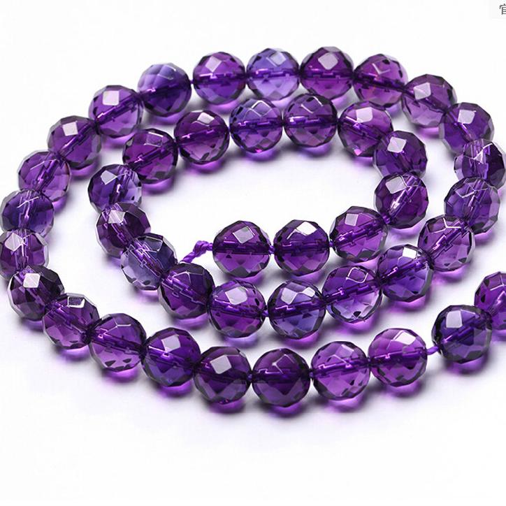 散珠5A半成品64刻面紫晶散珠 饰品配件DIY水晶其他DIY饰