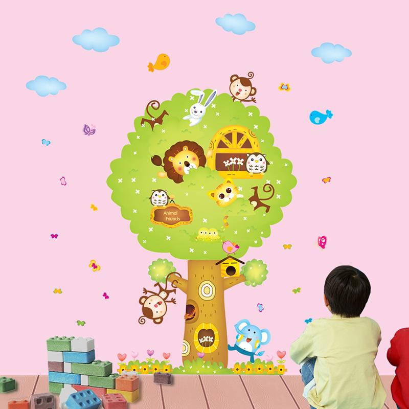 超大環保可愛動物卡通牆貼 客廳臥室兒童房背景裝飾牆壁貼紙 樹屋