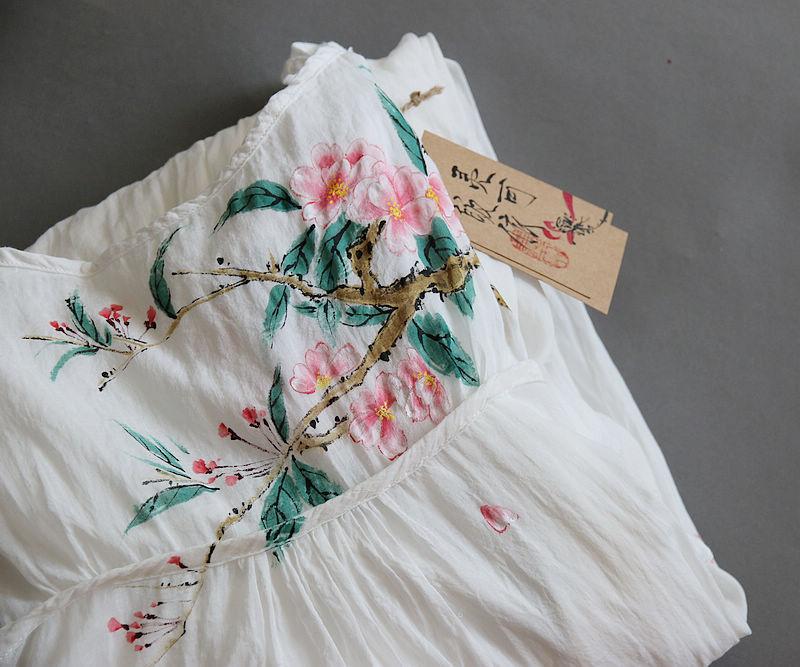 Only the famous flower bitter summer new pure cotton hand-painted Halter skirt RETRO art dress long skirt big swing skirt