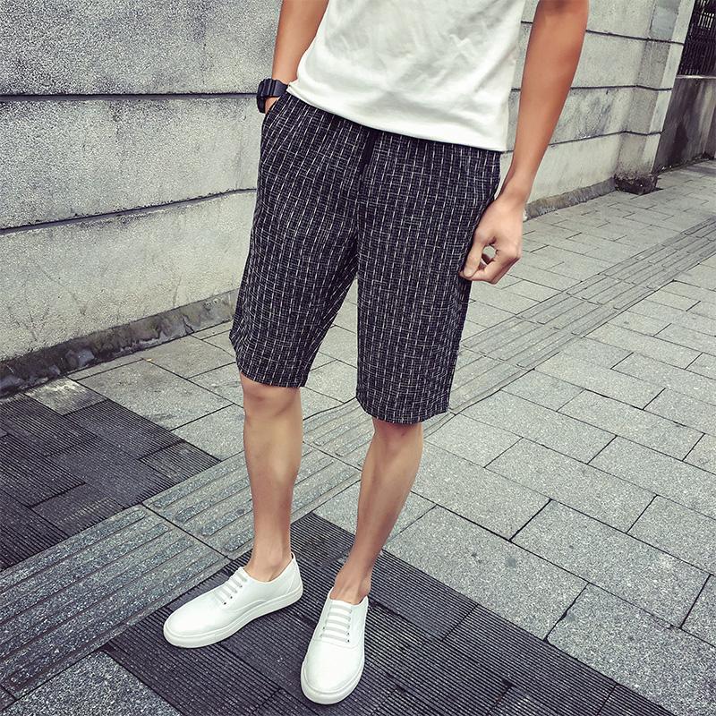 男士 條紋格子沙灘褲