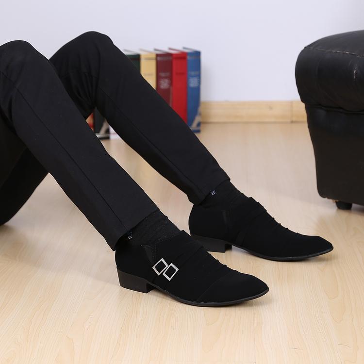 韩版新款潮流皮鞋英伦男款流行套脚发型师鞋子磨砂皮一脚套尖头鞋