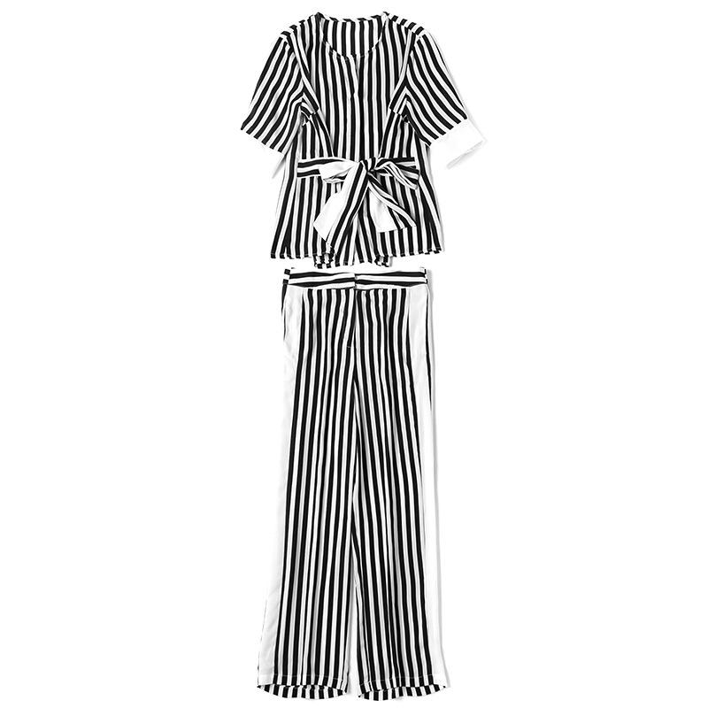 2017 европа лето стили костюм женский круглый воротник бант полосатые рубашки + прямо девять женщин брюки костюм