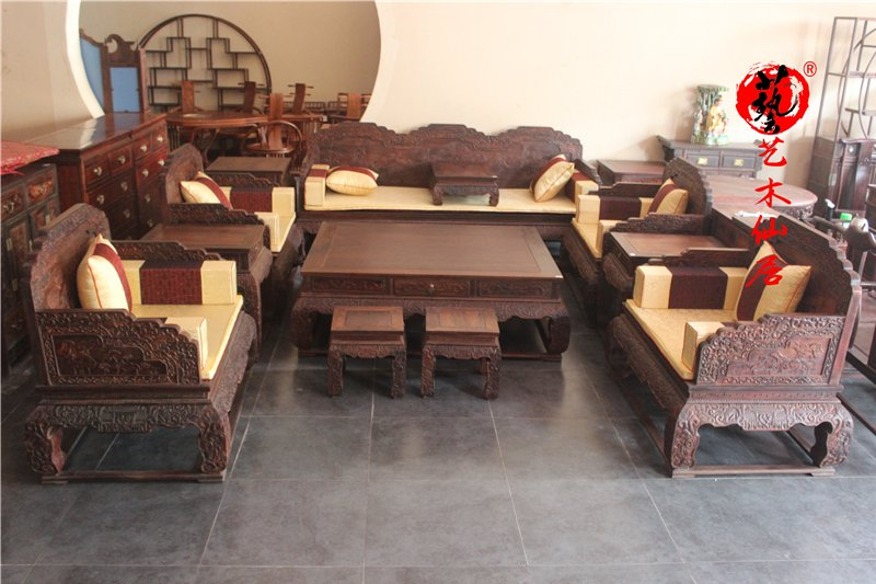 Mahogany furniture big red sour branch enlarged lotus throne sofa 13 piece solid wood sandalwood