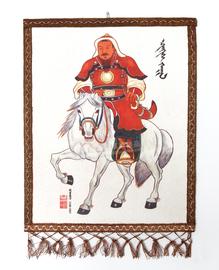 蒙古毡画 彩色成吉思汗骑马图 内蒙古特色工艺品毛毡画小号彩烫画