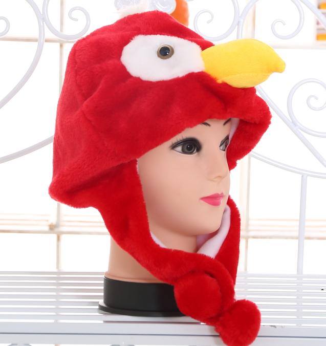 短款老鹰动物帽子新款东方神起帽子表演用品舞台道具卡通红鸟帽子
