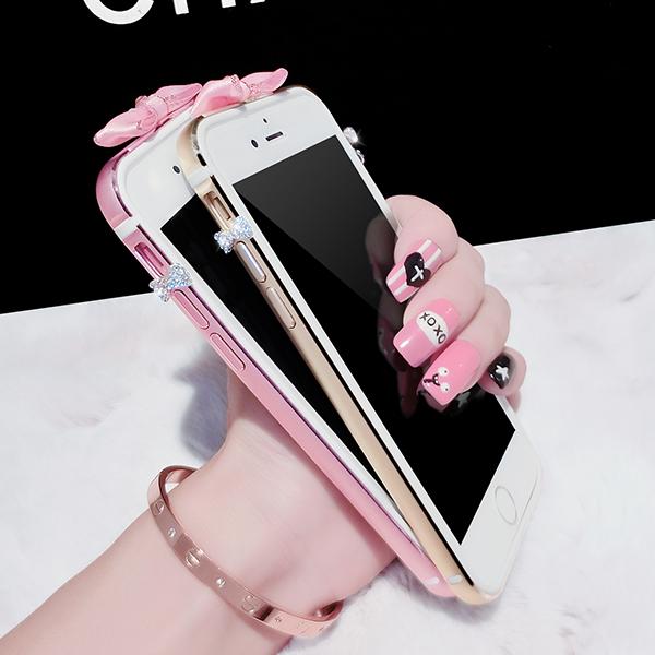 蘋果6plus手機邊框女款金屬奢華水鑽 iphone6splus手機殼邊框