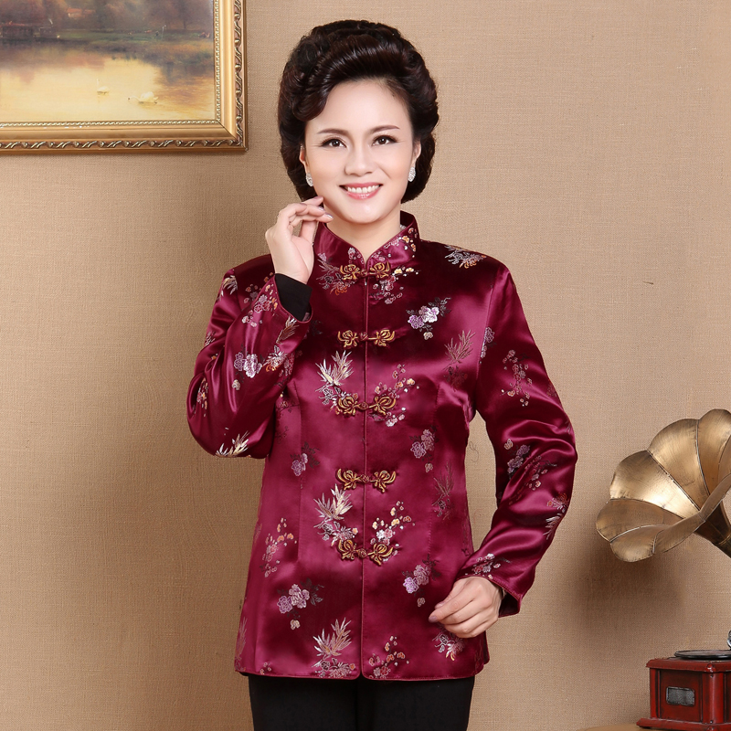 Elderly Tang suit women's satin coat autumn and winter grandma mother's cotton clothes Chinese style