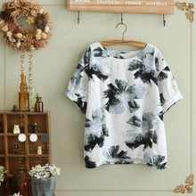 The ink printing short sleeve shirt t-shirts, women's cotton and linen joker's woman is the new summer 2015