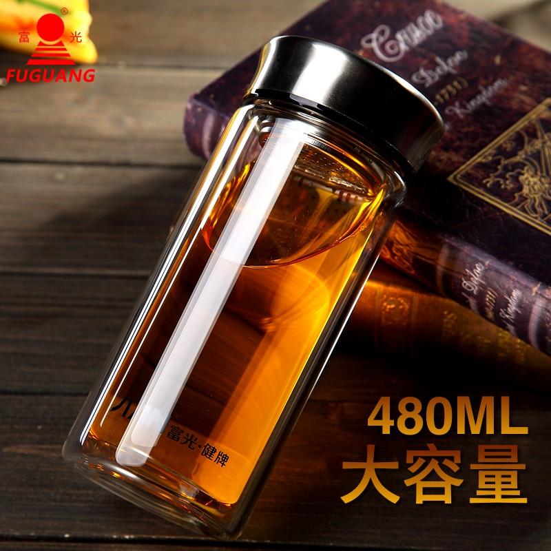 富光玻璃杯大容量480ML 雙層透明帶蓋過濾泡茶杯 男女辦公水杯子