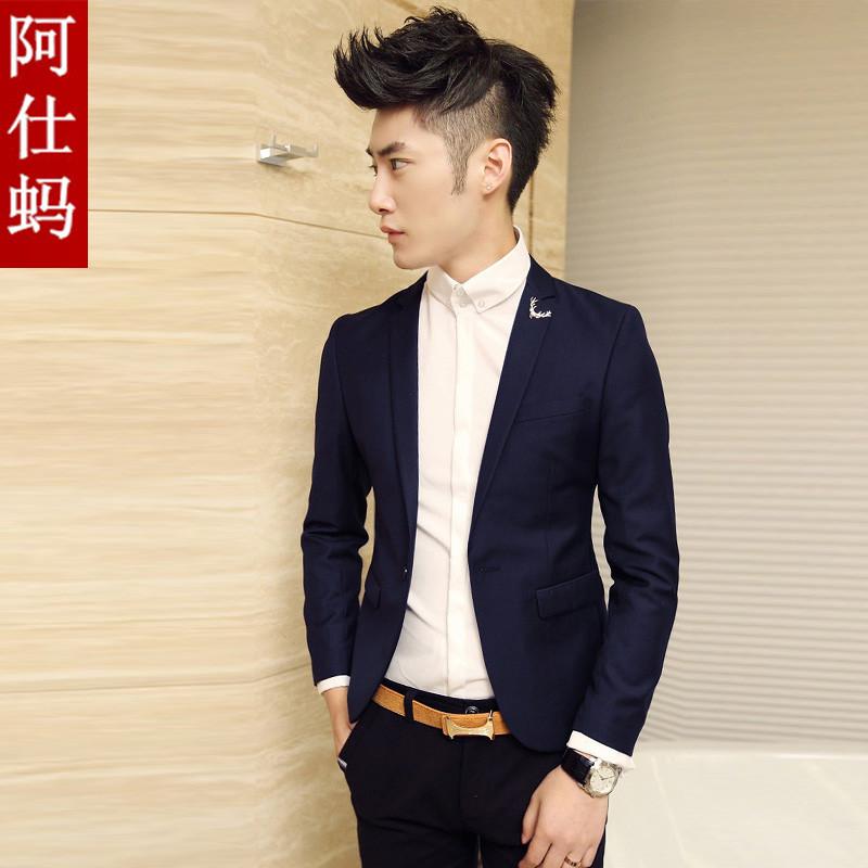 Тренд корейских мужчин малых осень волос стилист моды костюм случайный костюм человека Англии slim блейзер