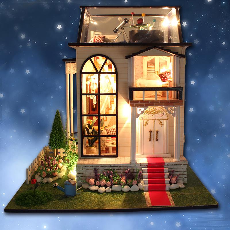 DIY коттедж творческие ручной дом собран модель строительство больших вилл игрушки девушки день рождения подарки