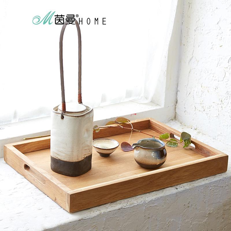 茵曼home 客廳簡約實木橡木長方形家用茶藝水杯收納大托盤茶盤