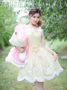 Happy sweet princess dress summer new women wood ear yarn flocking dot strap dress Meng yarn