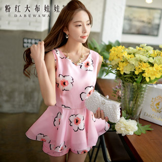 Girls pink doll 2015 new slim t print sleeveless summer dresses at the waist shirt