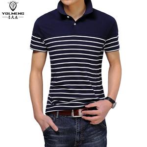 2016流行男装翻领男士短袖t恤有领 条纹修身半袖polo衫男夏季体恤