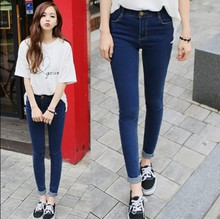 Han edition spring autumn pure color pants high waist jeans women show thin leg pants nine points tight render pencil pants