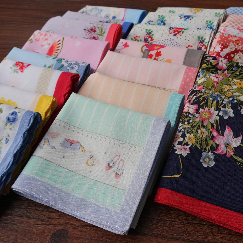 出口日本女士印花全棉柔软轻薄吸汗小清新手帕文艺可爱手绢腕巾纯