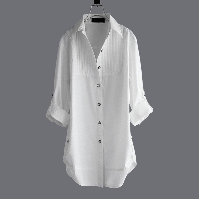 11-30新券天天特价中长款全棉白衬衣简约长袖打底衬衫女棉显瘦衬衣