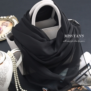 Hang Yan genuine black solid color silk scarves Ms spring and summer and winter Hangzhou 100 silk georgette scarf